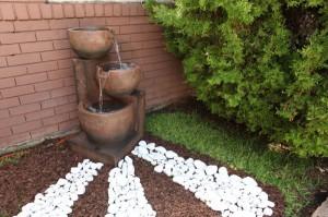 decoración, jardín, piedras, plantas