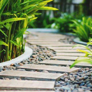 Diseña un camino de jardín con elementos sencillos y vistosos